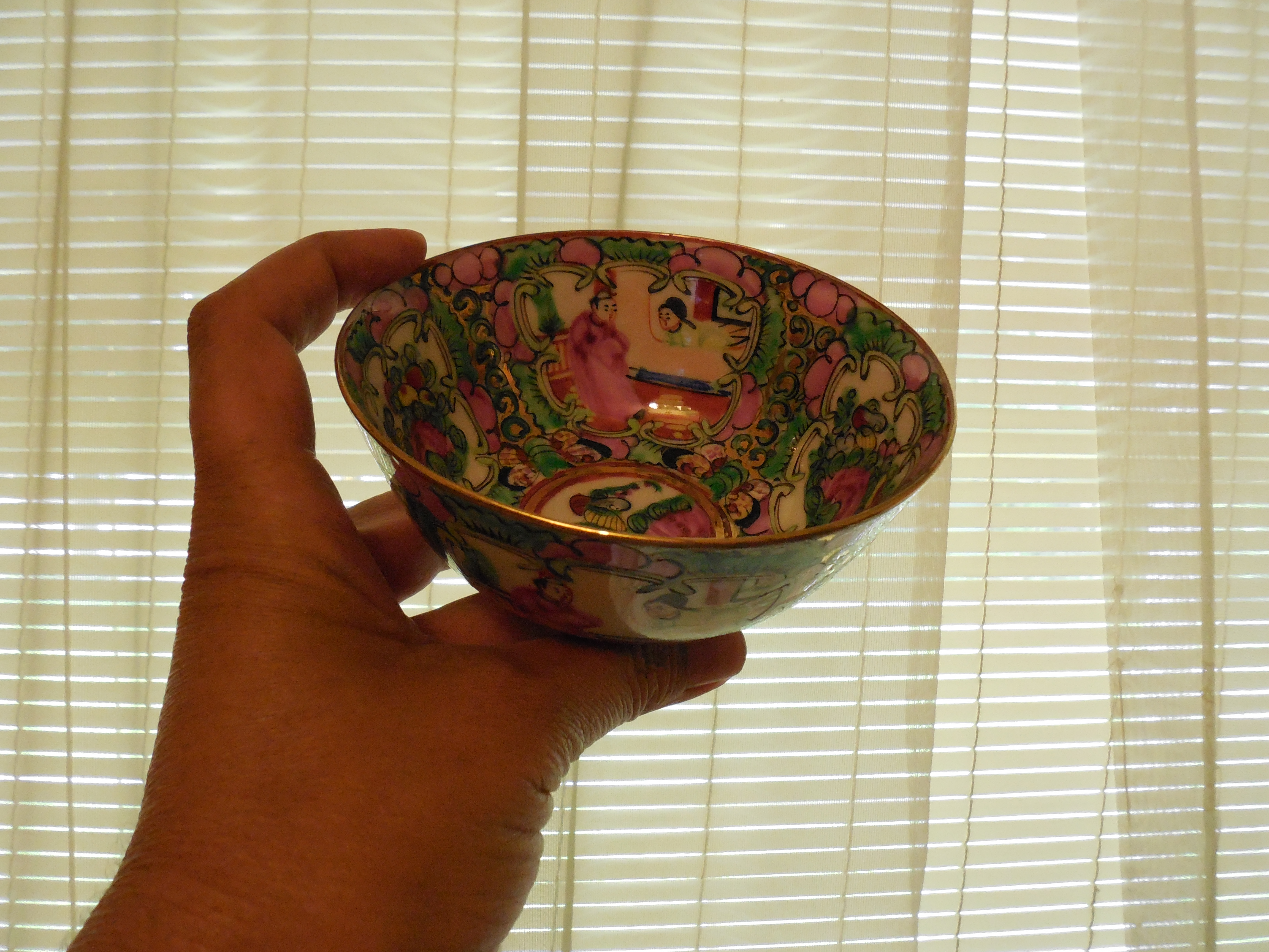 Oriental Asian Japanese Soup Rice Bowl Floral Birds Hand