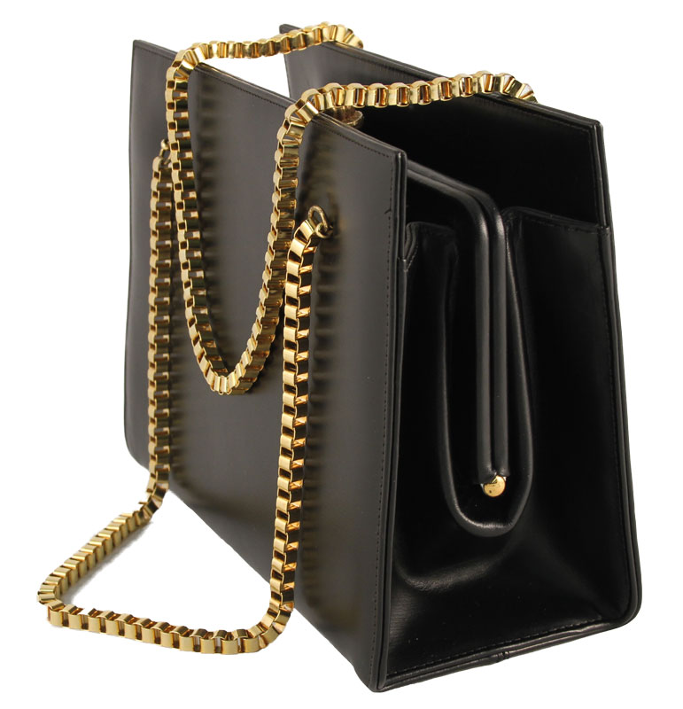 Coblentz Original Black Evening Purse With Gold Chain Handles For