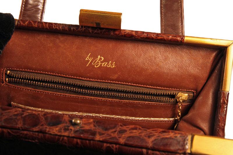alligator Bass brown vintage handbag