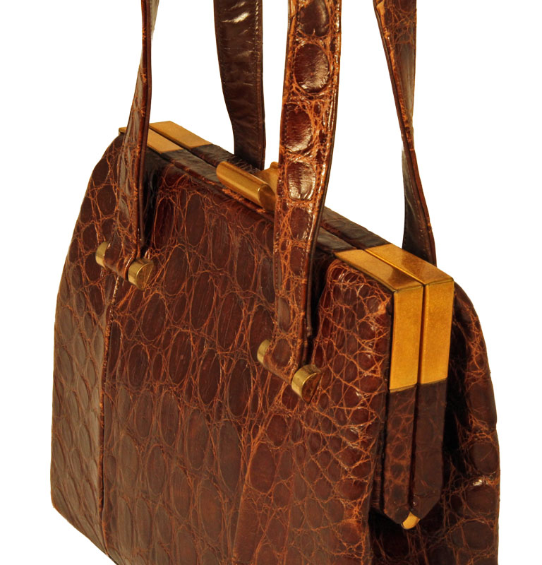 brown Bass vintage alligator handbag