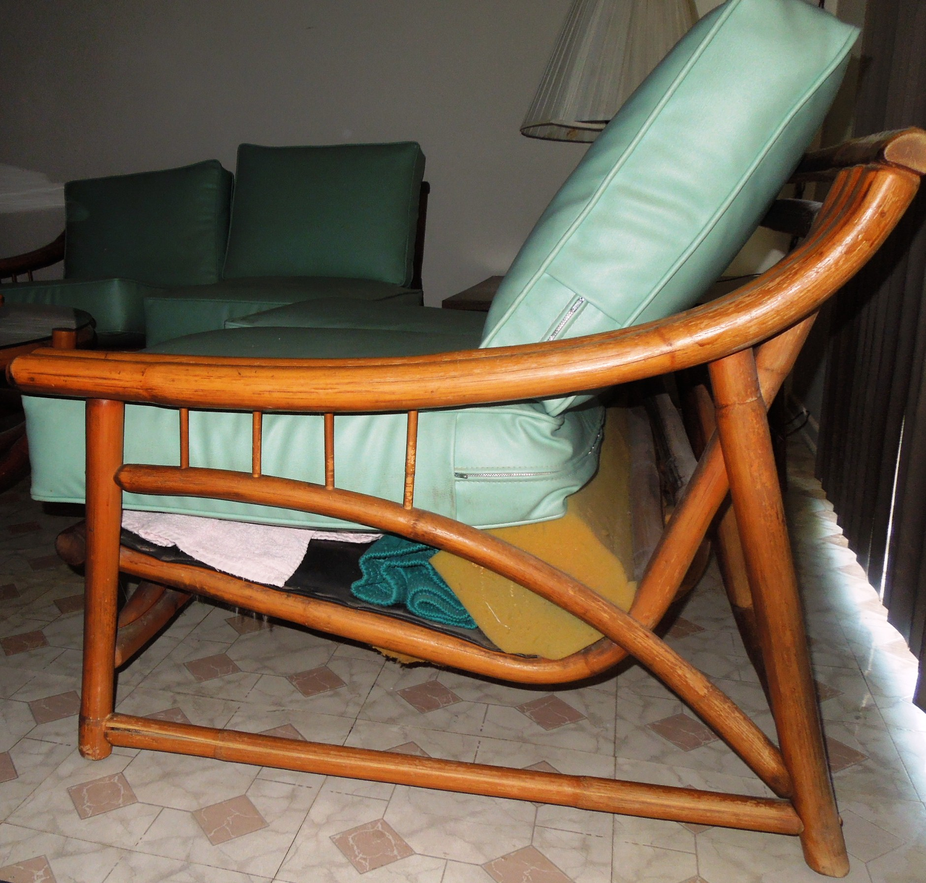 1960s Vintage BAMBOO & Vinyl RETRO Living Room Furniture