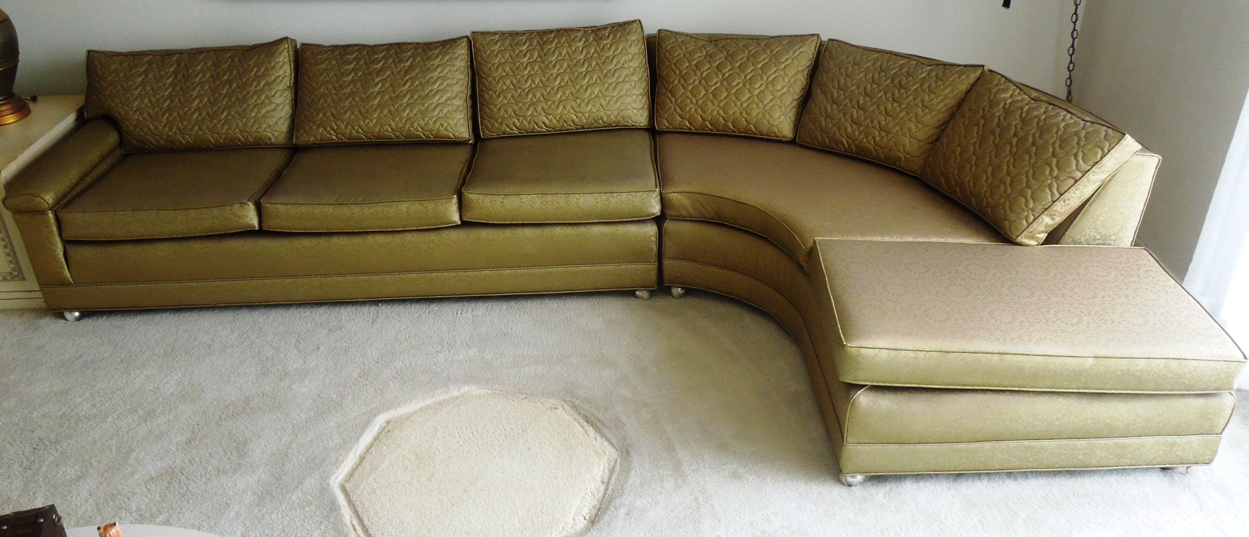 Vintage 1960s sofa couch vinyl gold color for sale for Sofa couch for sale