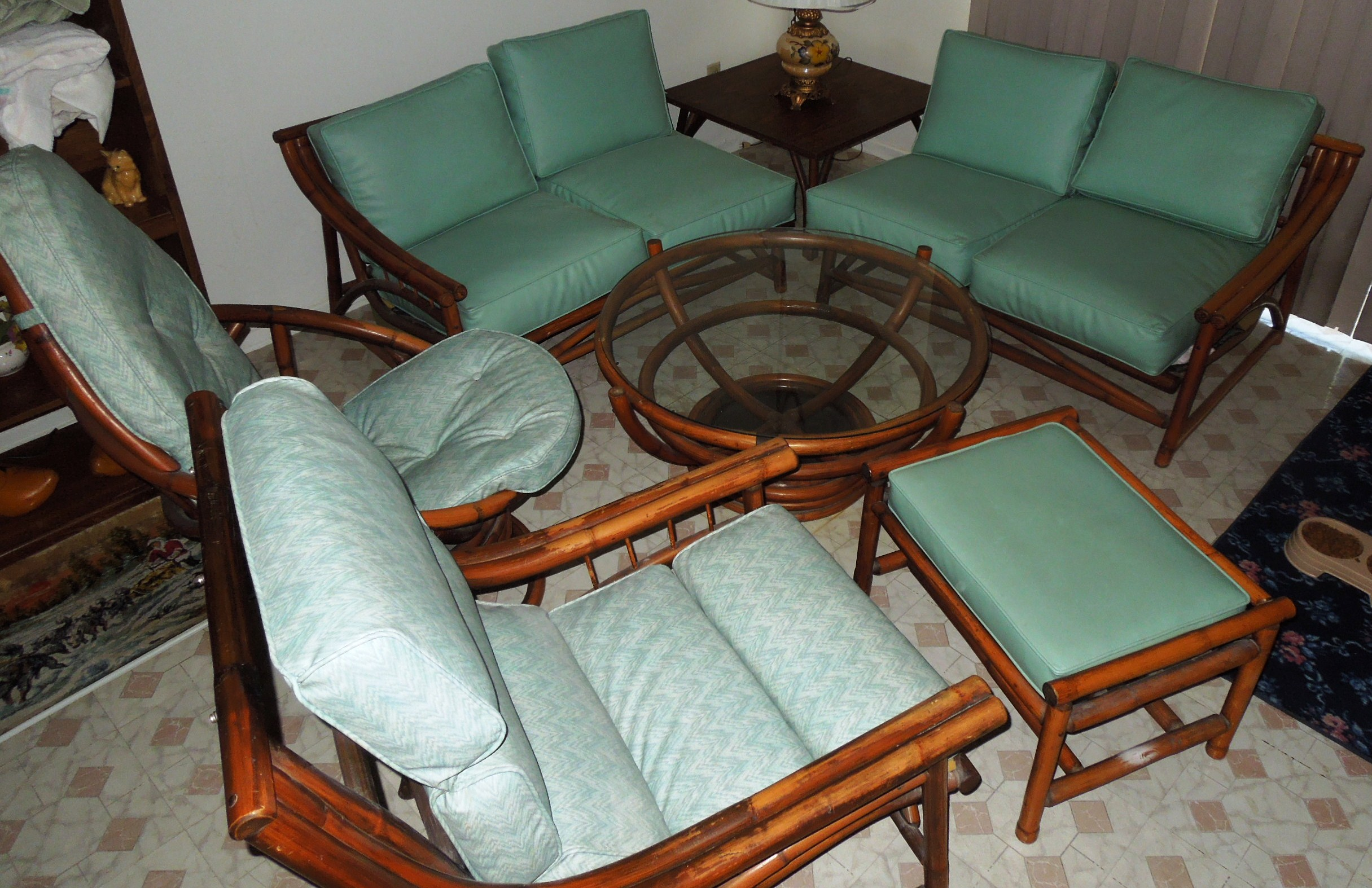1960s Vintage Bamboo Vinyl Retro Living Room Furniture Set