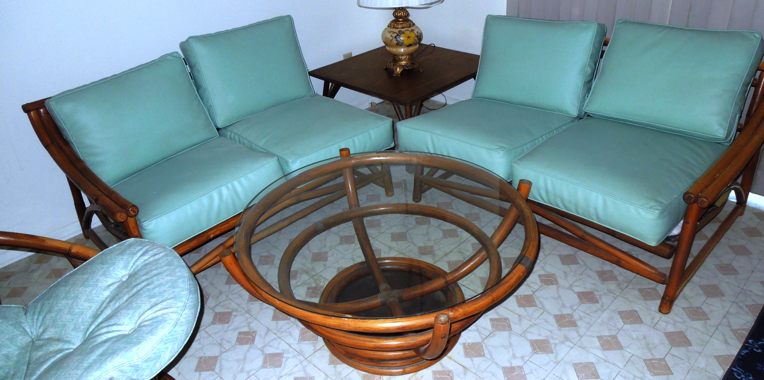 1960s Vintage BAMBOO & Vinyl RETRO Living Room Furniture Set For ...