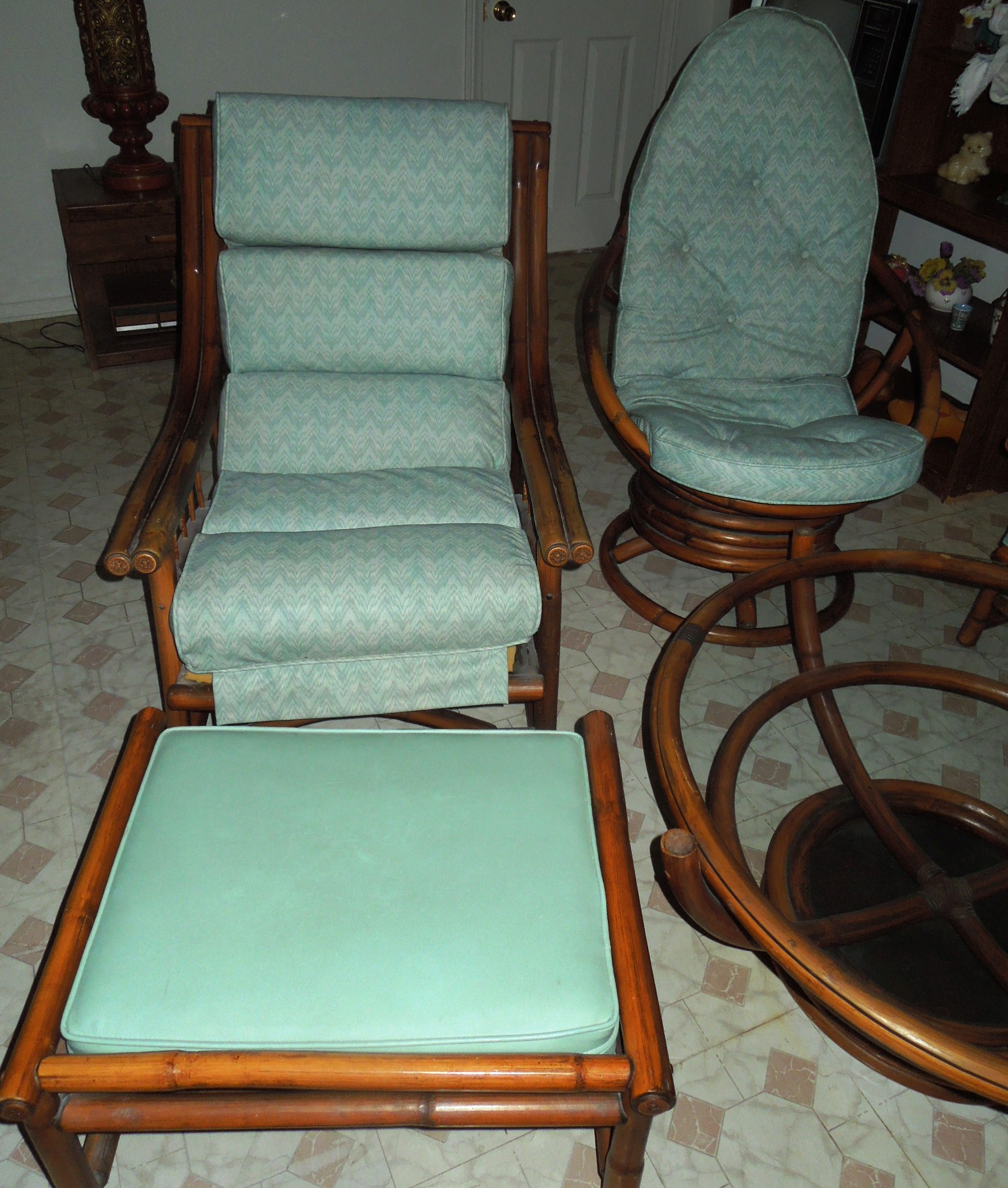 1960s Vintage Bamboo Vinyl Retro Living Room Furniture Set For