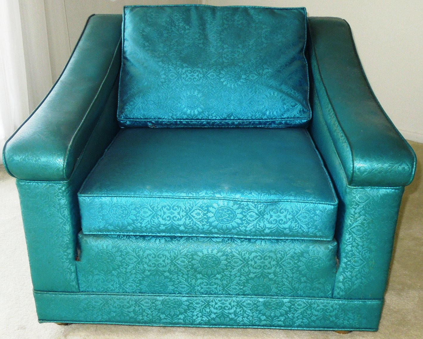 Vintage 1960s Luxury Lounge Chair Vinyl Blue Color For