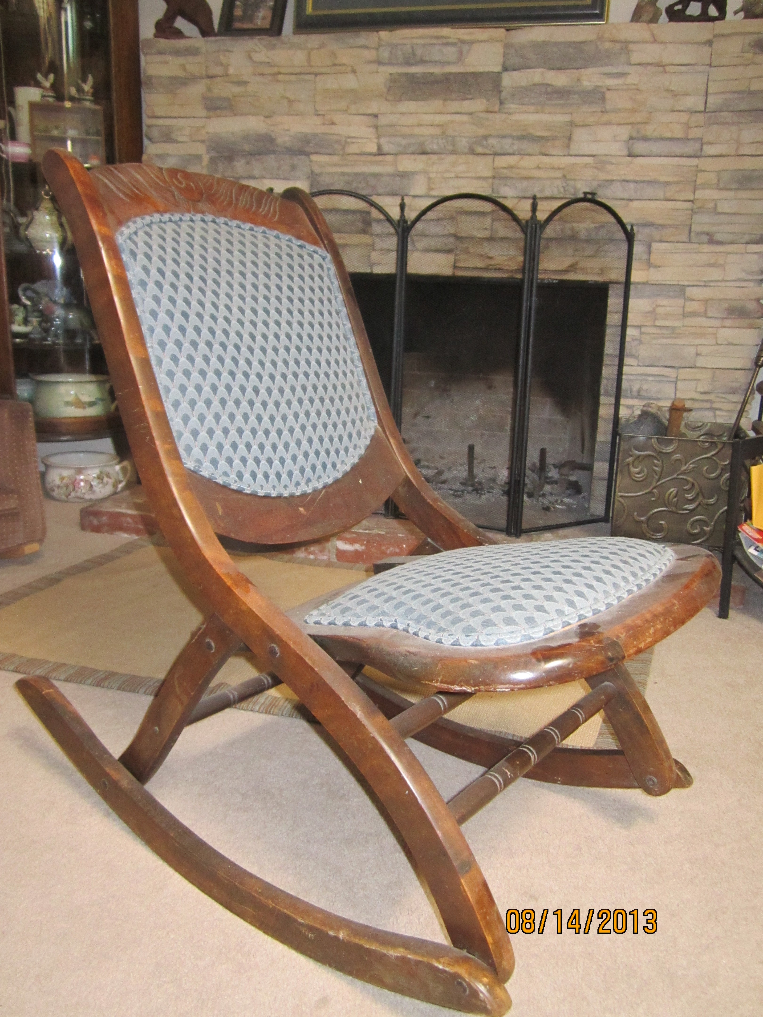 Fold Up Wooden Rocking Sewing Chair For Sale Antiques
