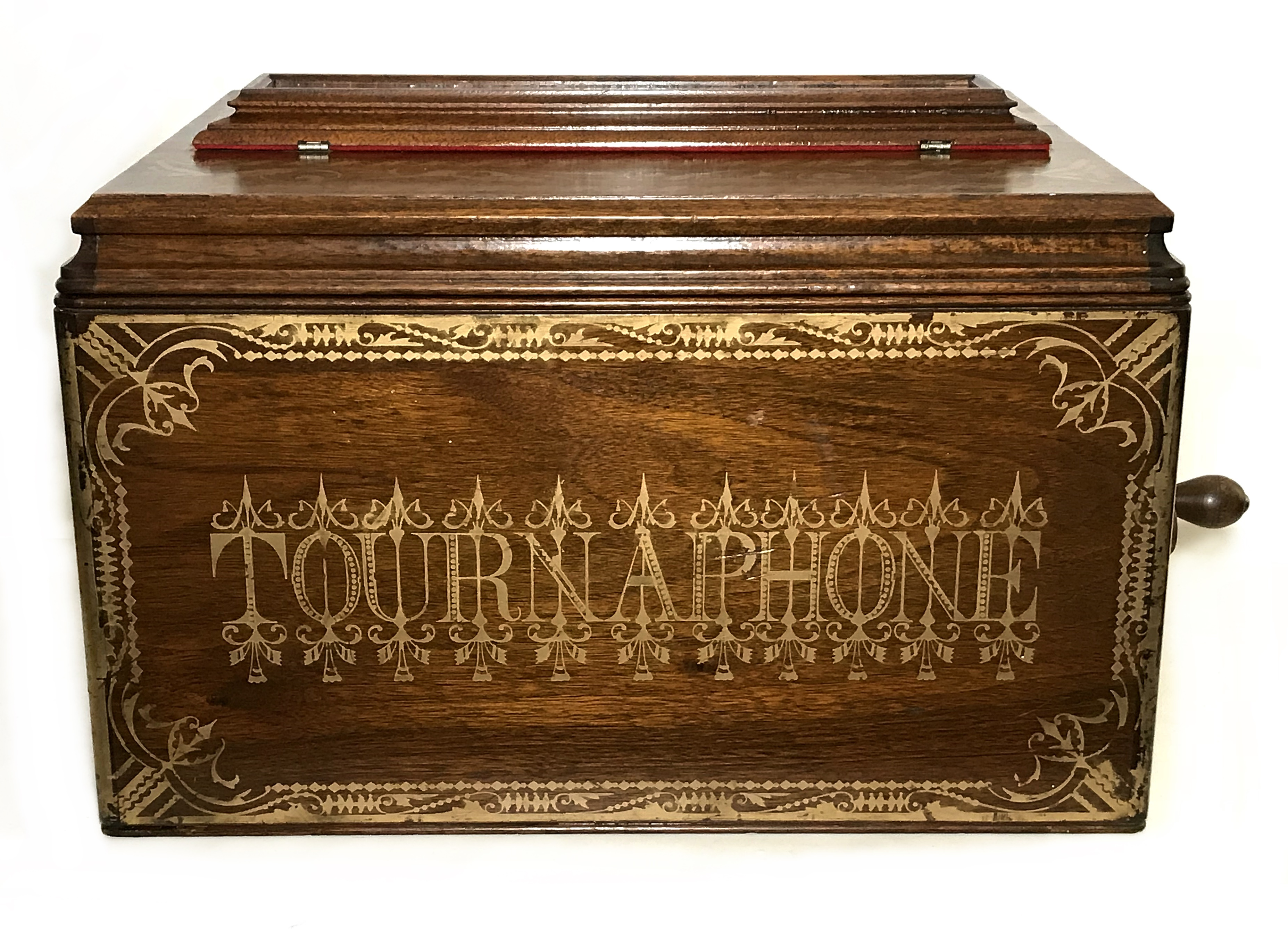 Beautiful Red 25 Note Tournaphone Organette With Original Roll 404 Au Waltz Excellent Black Walnut Case Bright Stenciling Hinged Glass