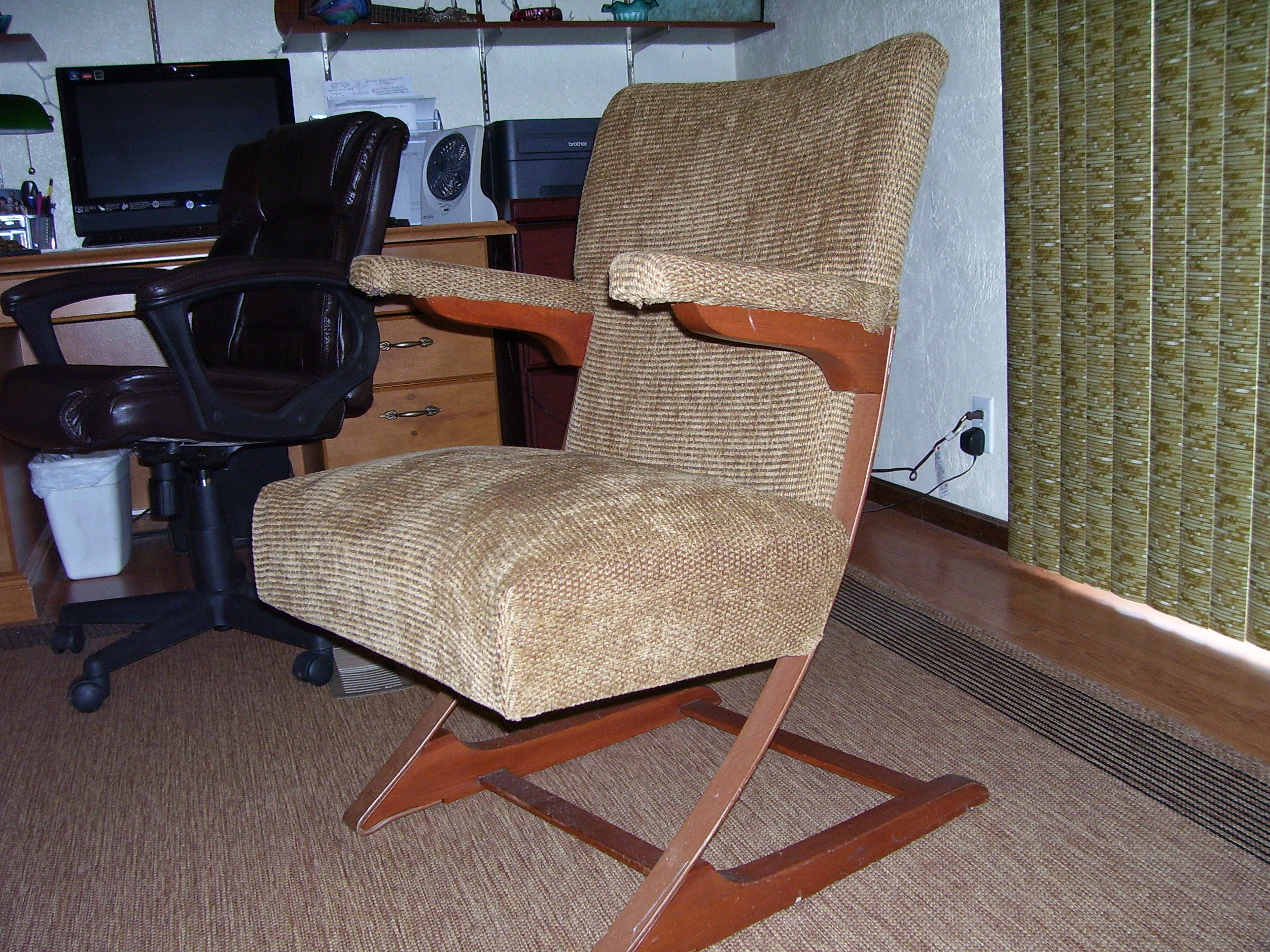 This Listing Is For A Very Rare McKay Style Cantilever Rocking Chair Made  Of Wood And Steel. It Is In Great Shape With New Upholstery.