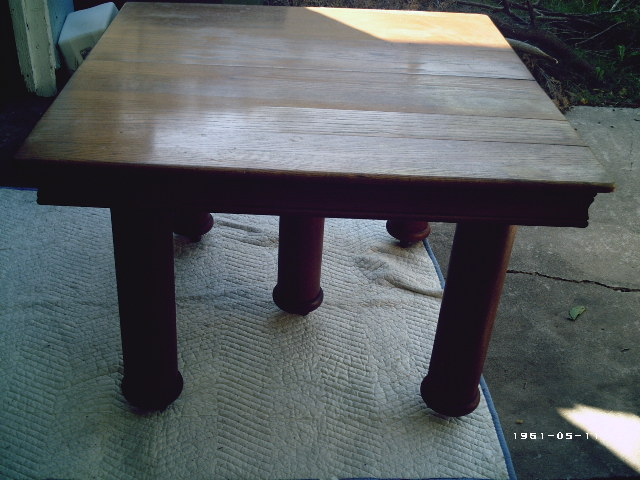 Solid Oak 5 Legged Dining Table With Leaf For Sale