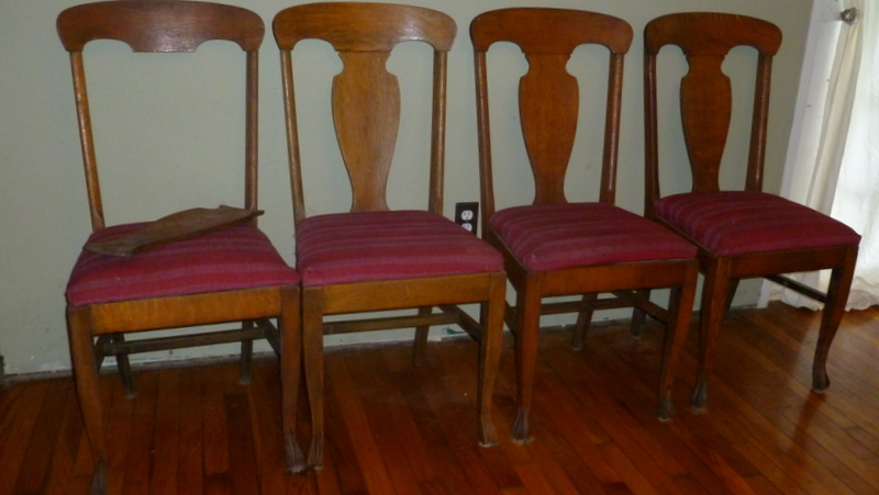 Antique OAK Dining Room Table W Leaves Four Straight Back Chairs For Sale
