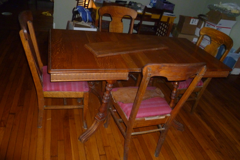 antique oak dining room table w leaves four straight