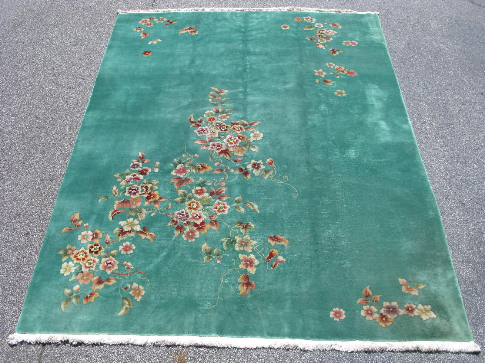 Chinese Art Deco Rug Hand Knotted Wool Green Size 8 9x11 7 44