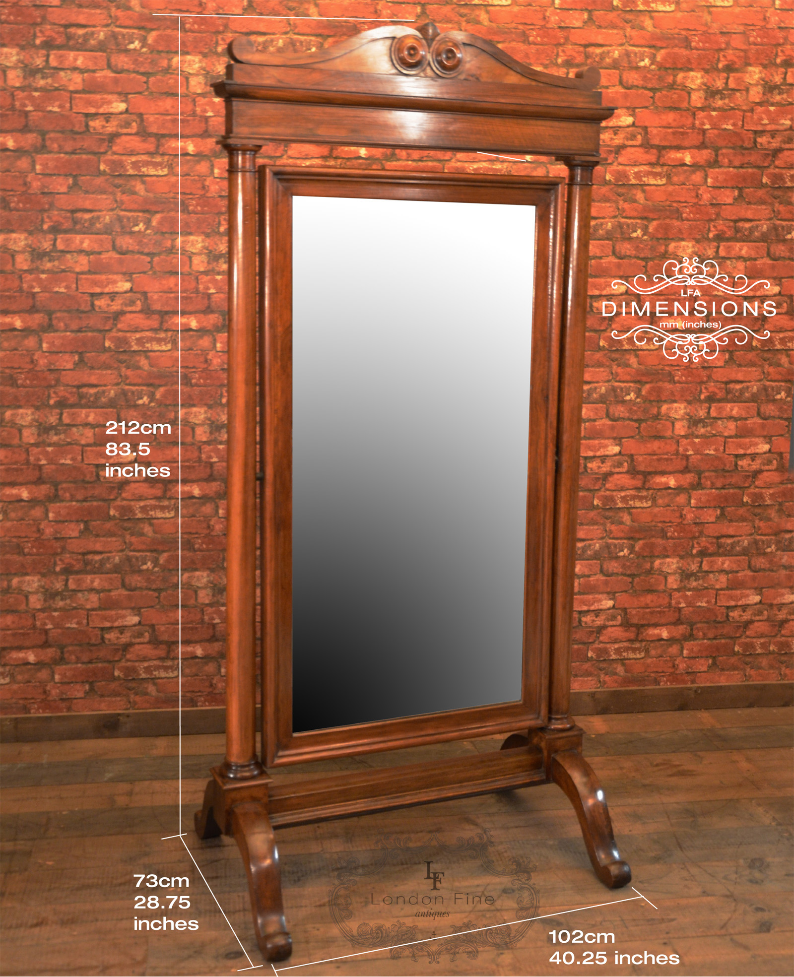 Antique Cheval Mirror Large Regency Full Height Standing Vanity Walnut For Antiques Com Classifieds