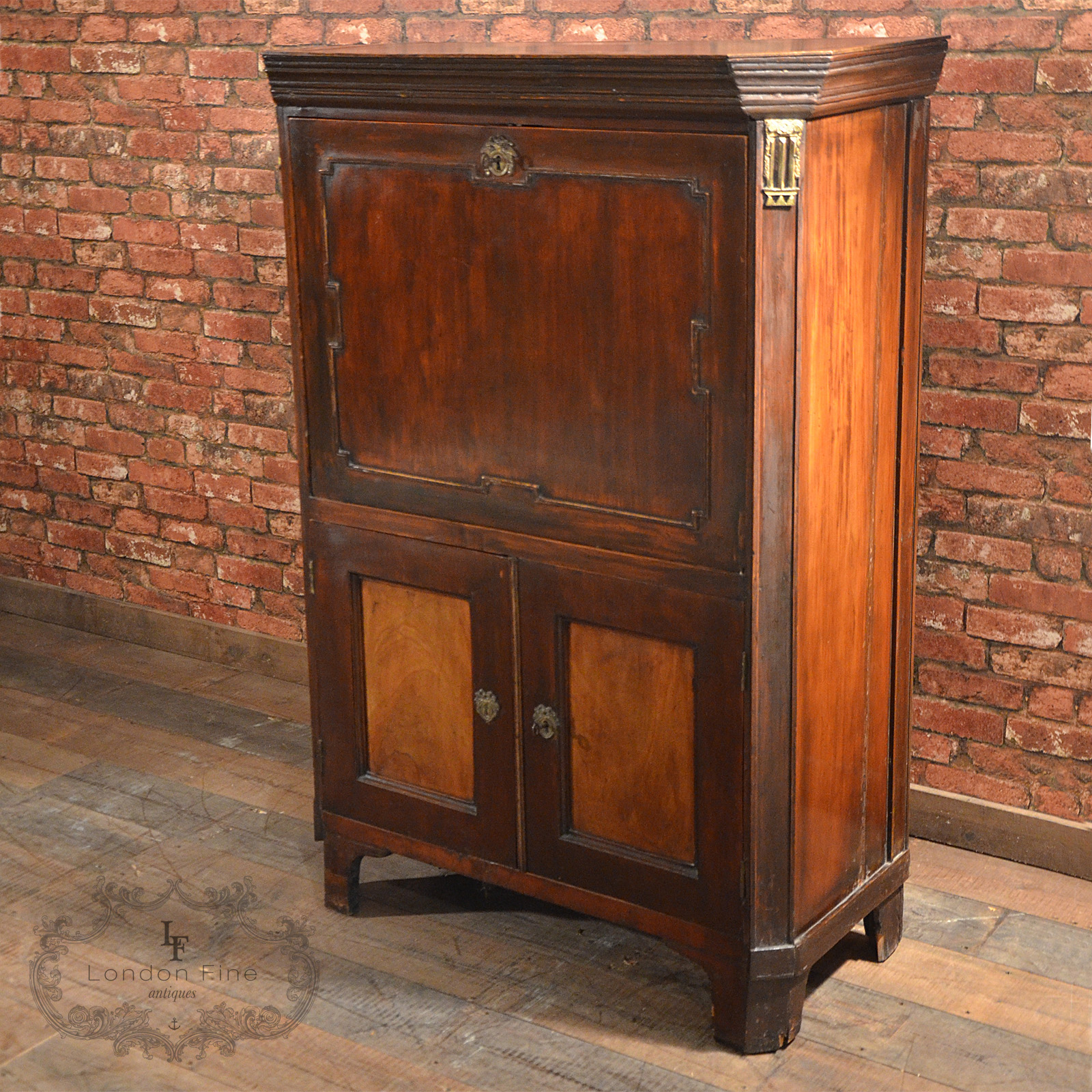 Antique French Escritoire Mahogany Abattant 19th Century