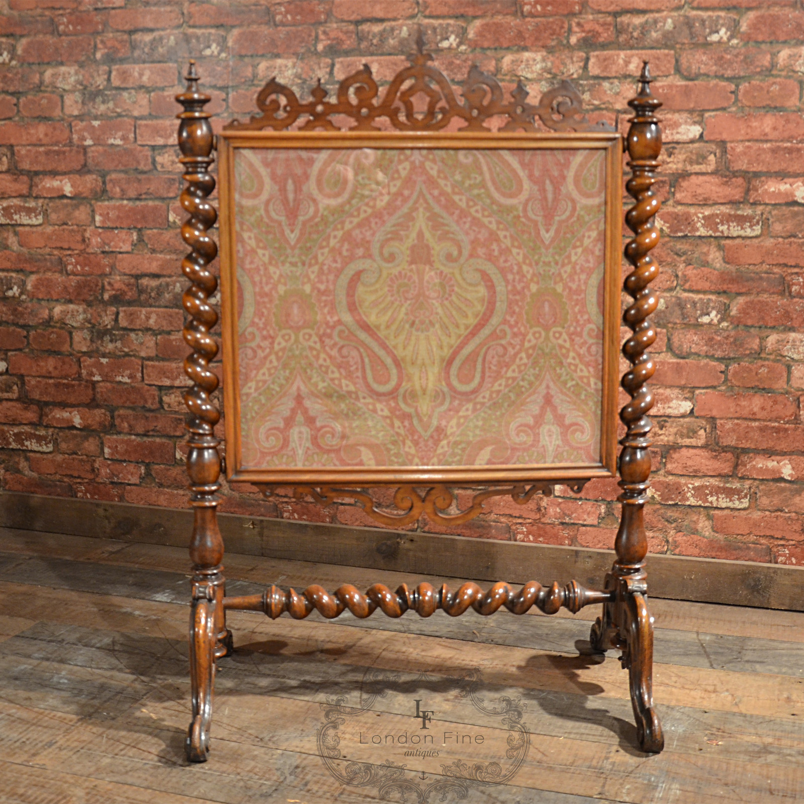 antique screen mahogany needlepoint textile