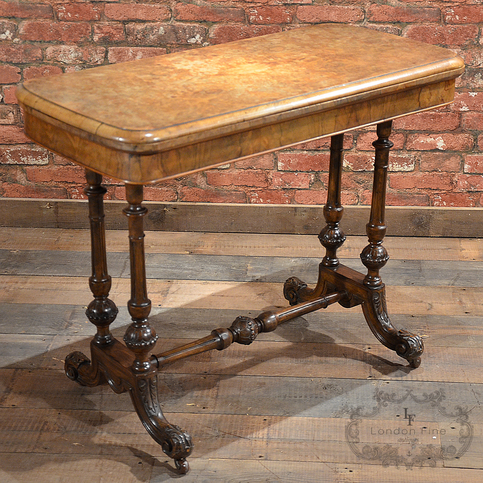 Antique Coffee Table With Folding Sides: Antique Fold Over Card Table In Burr Walnut Veneer
