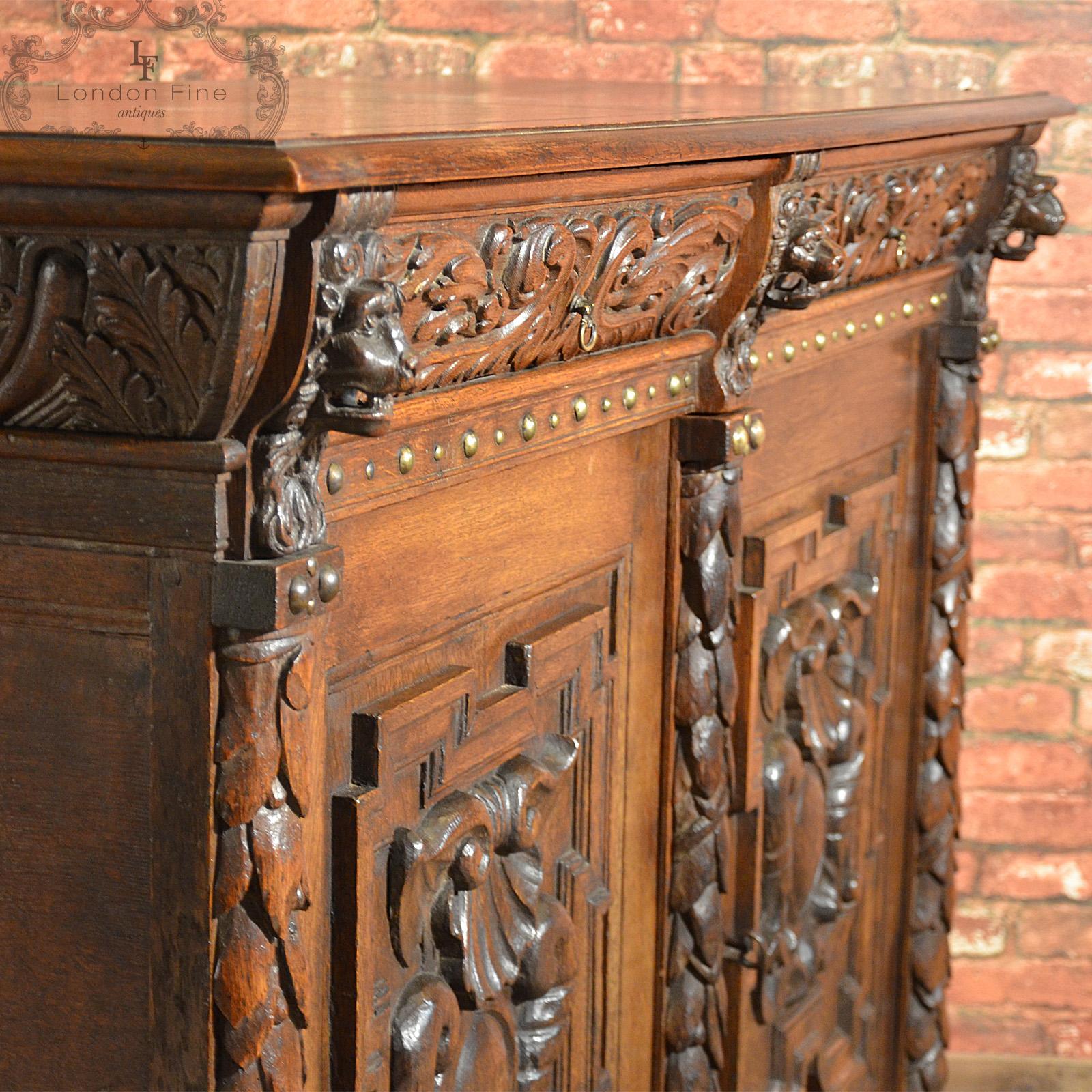 Antique belgian sideboard carved oak cabinet th
