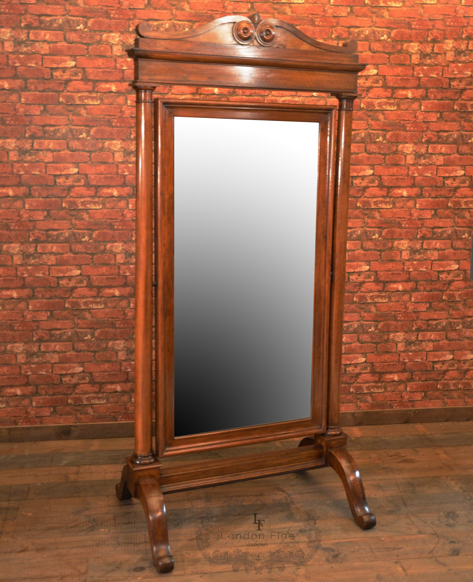 Antique cheval mirror large regency full height standing for Vanity stand
