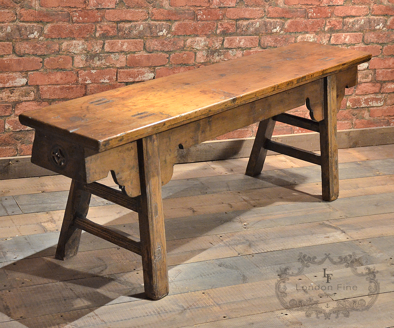 Antique Chinese Elm Gate Bench, Qing Dynasty c.1800 Old, Long Hall ...