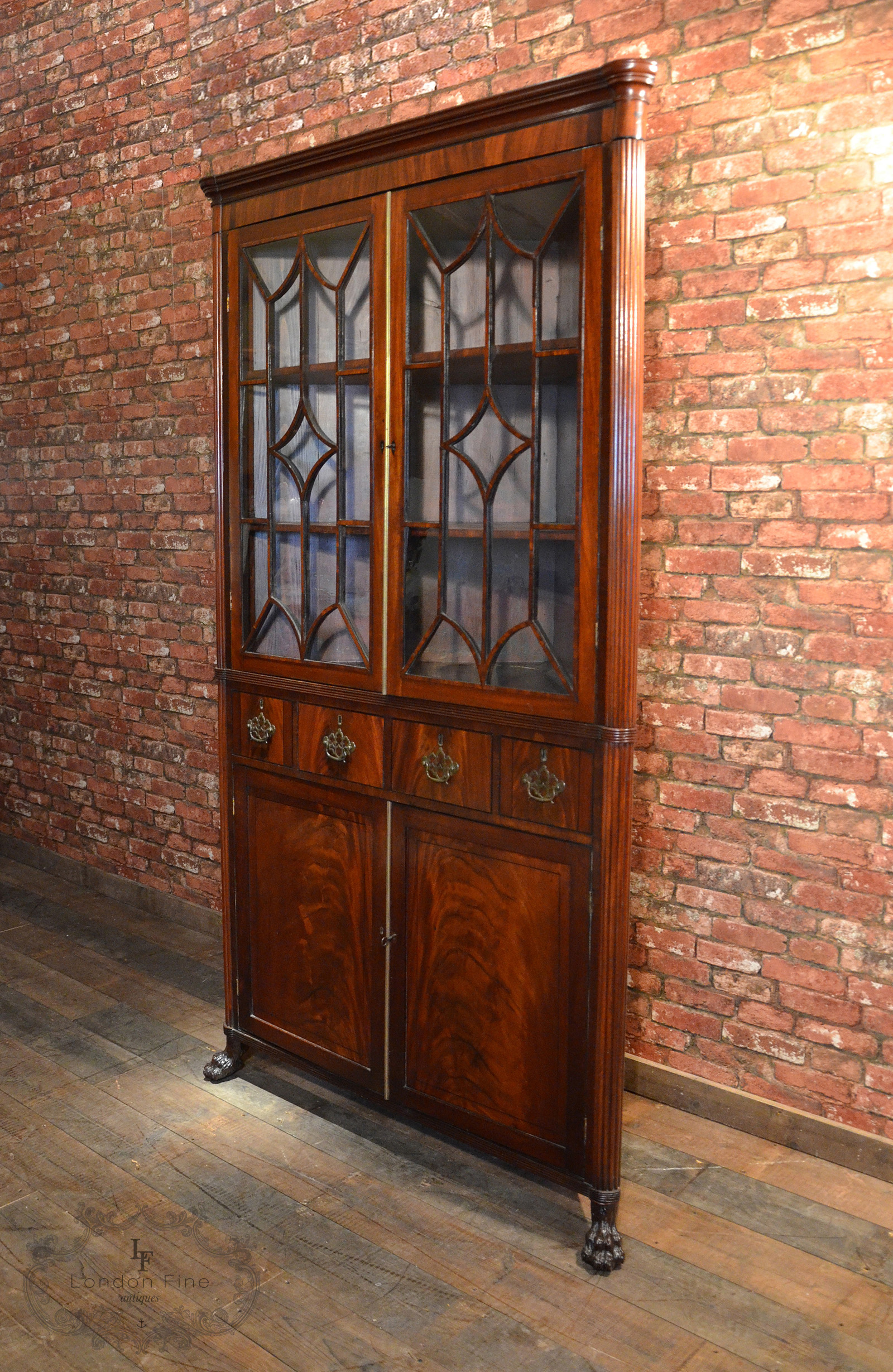 Antique Regency Tall Corner Cabinet, Astragal Glazed, Flame Mahogany C.1800    For Sale