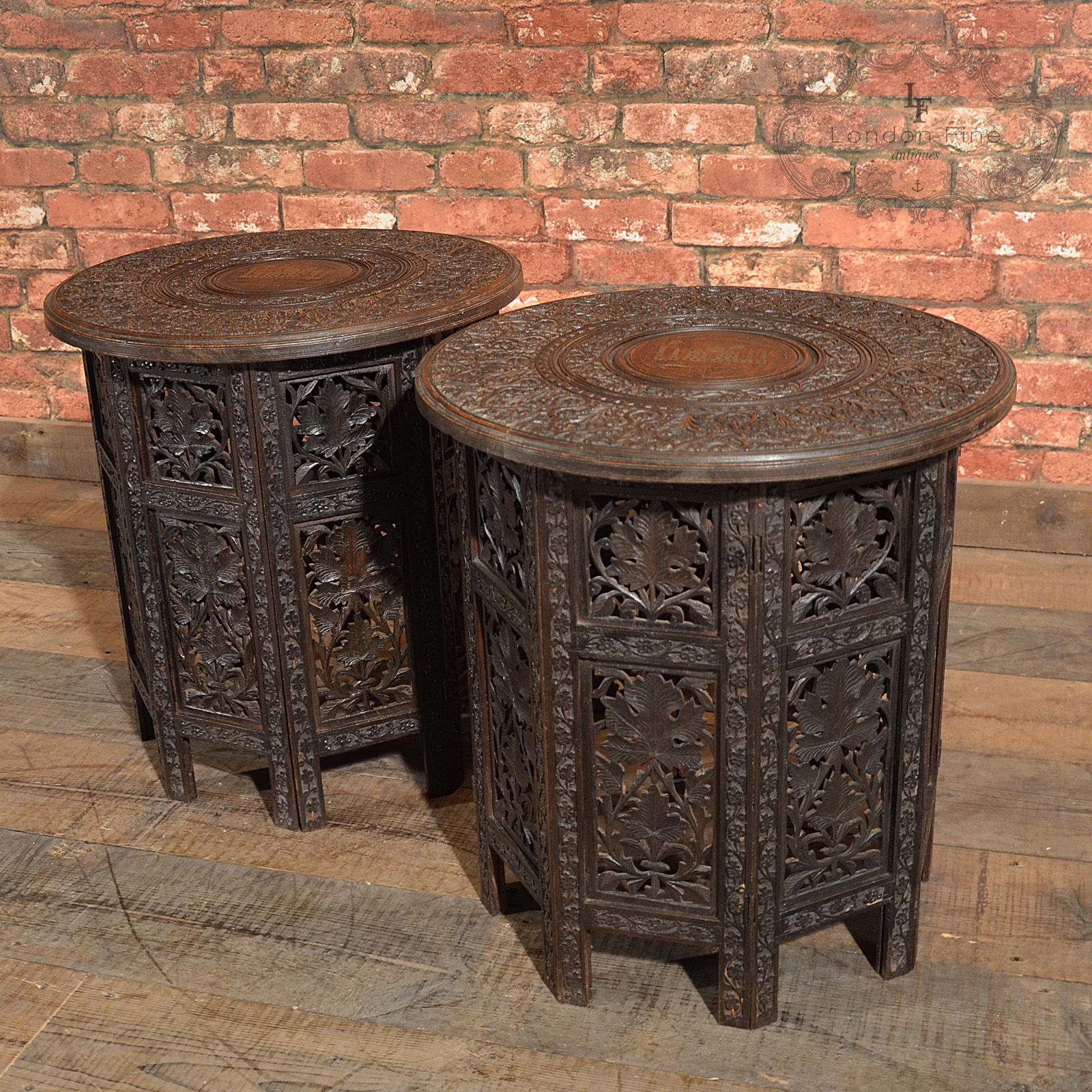 Antique pair of indian carved wooden campaign tables c th