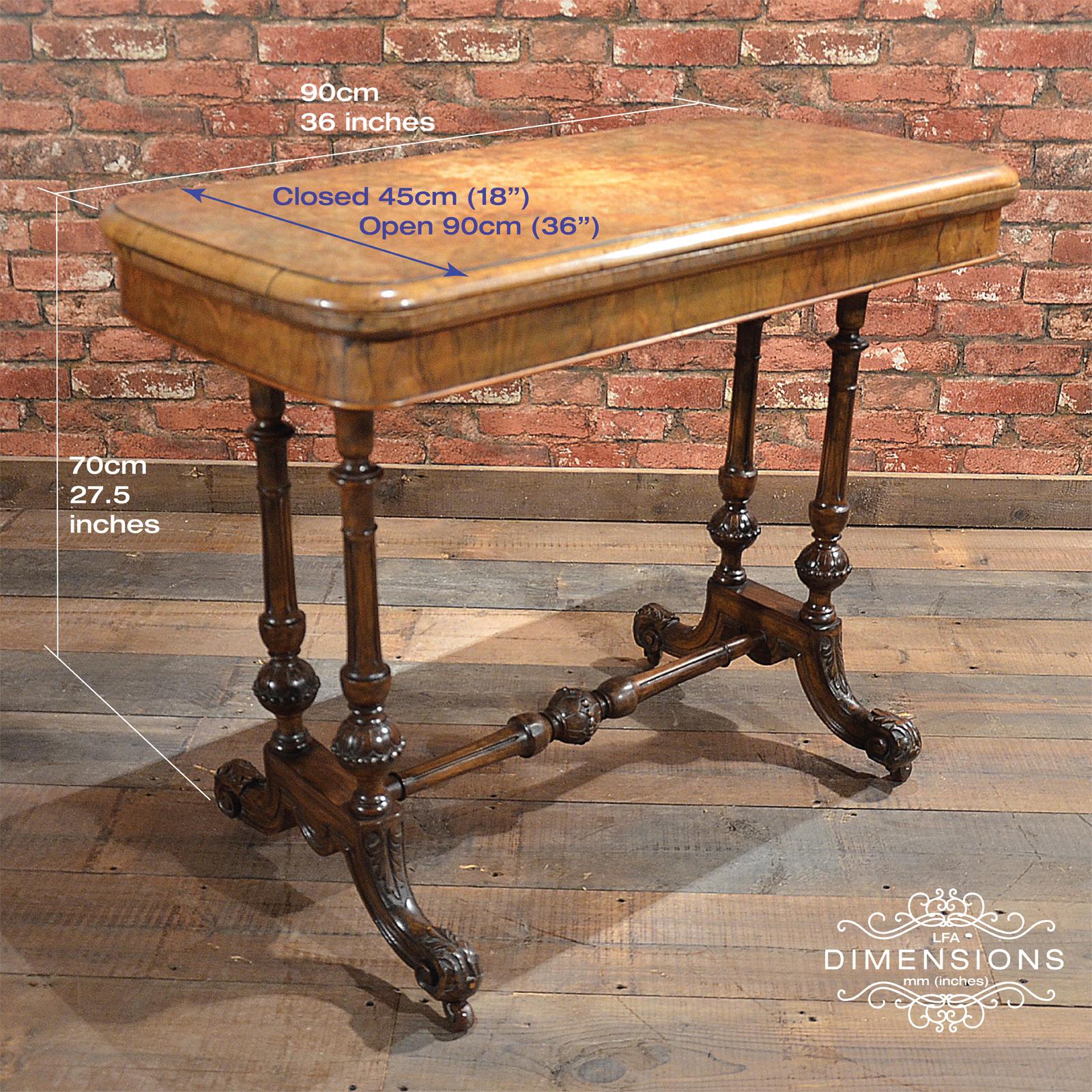 Antique Fold Over Card Table in Burr Walnut Veneer Victorian c
