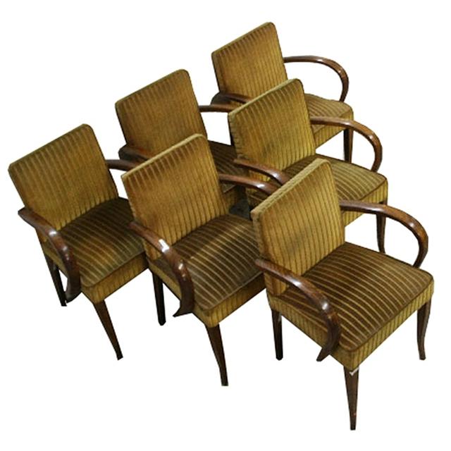 Fantastic set of six matching art nouveau arm chairs for for Matching arm chairs