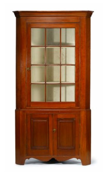 Superieur Superb Early 19th C American Cherry Corner Cupboard Of Pennsylvania Origin:  Circa: 1800 1825 Excellent Condition The Upper Section With Molded Cornice  Above ...