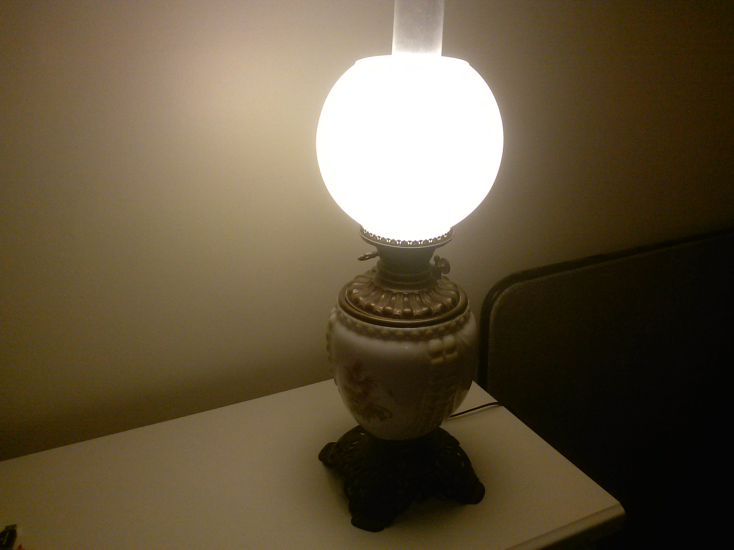 Antique Oil Lamp Converted. For Sale
