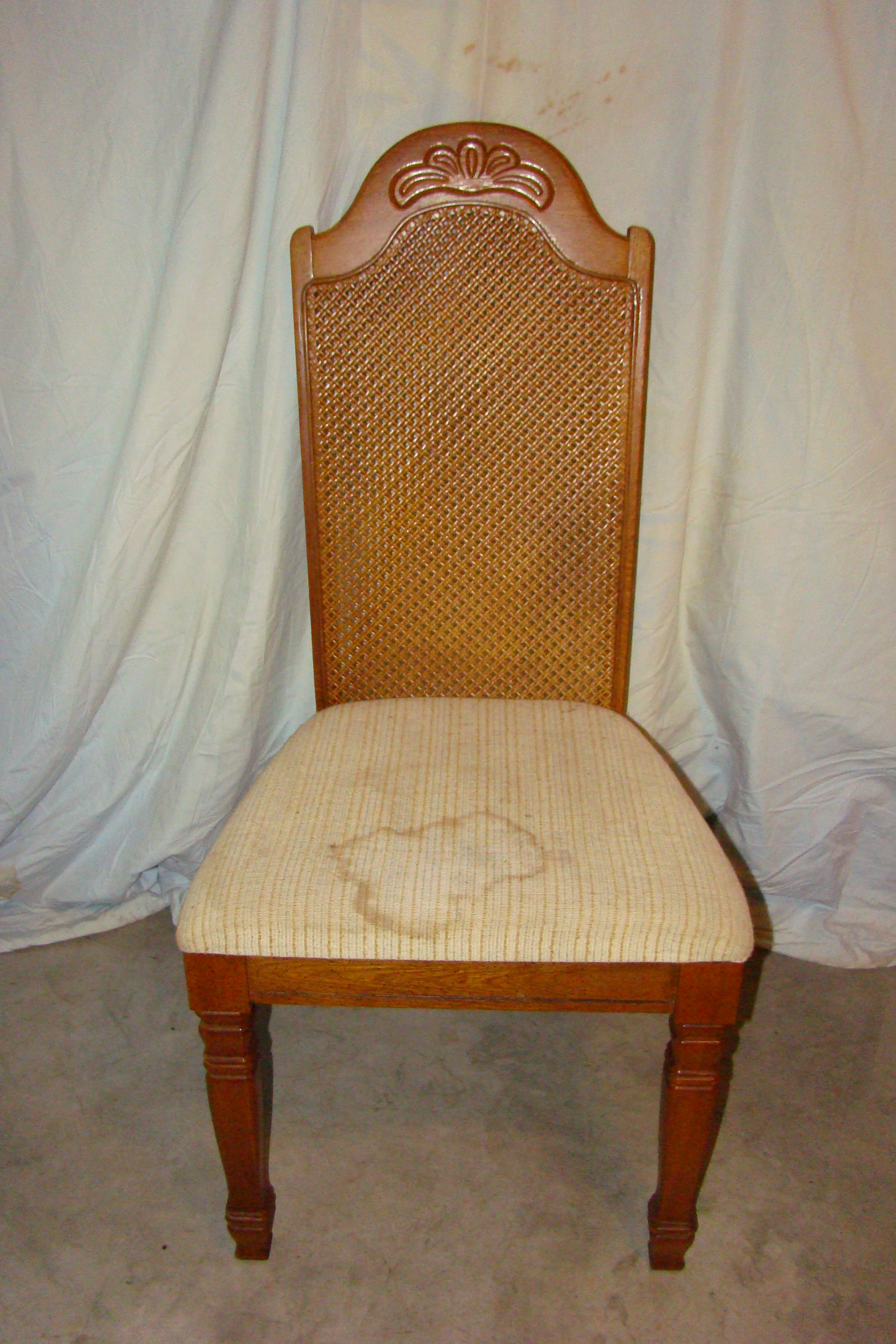 Antique European Set of 4 Wicker Back Chairs For Sale