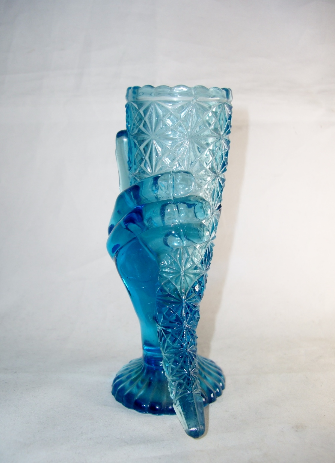 Antique Duncan Eapg Blue Glass Daisy Hand Cornucopia Horn Plenty Vase For Sale Antiques Com