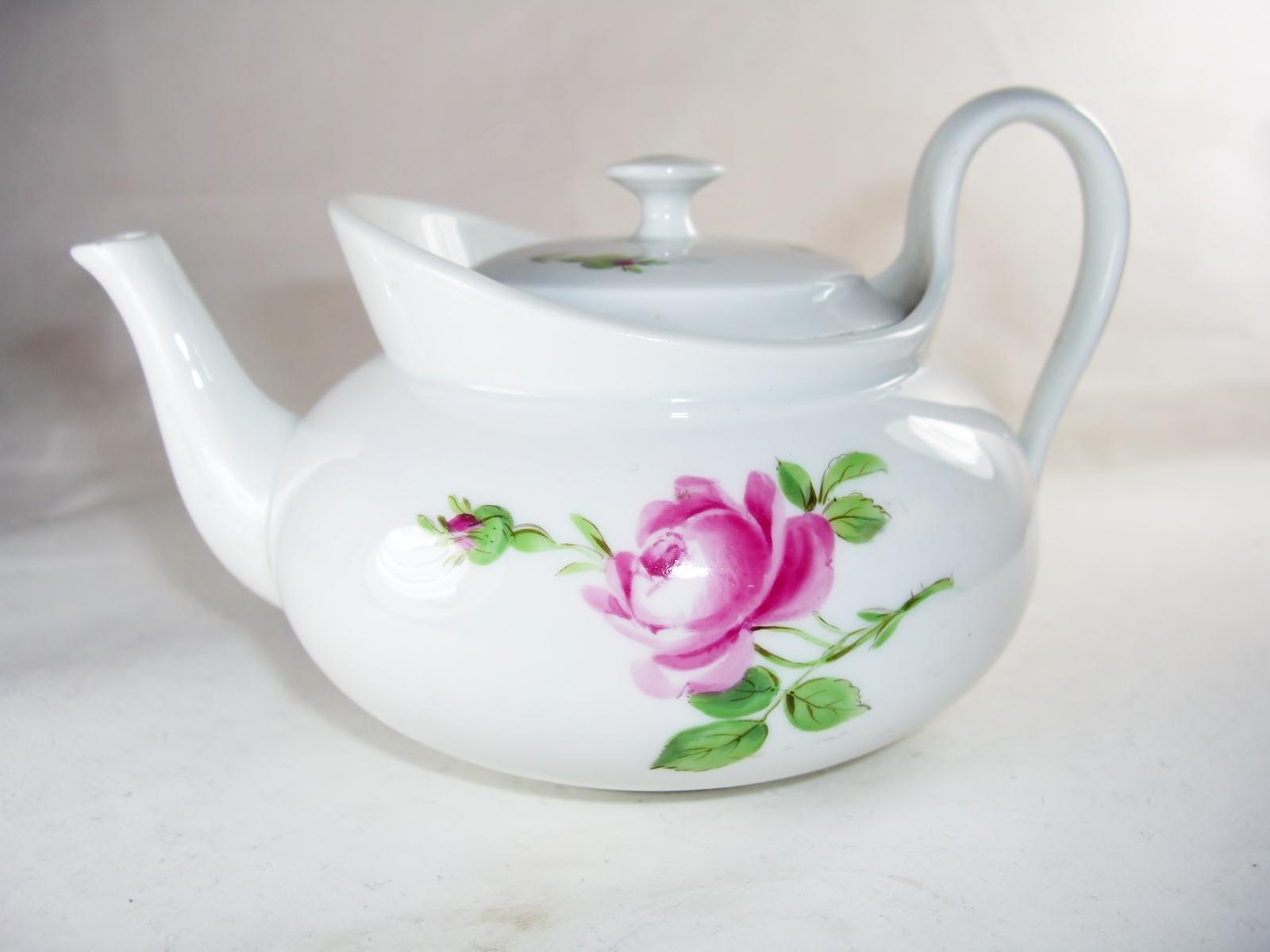 Meissen Rose Individual Miniature Teapot For Sale