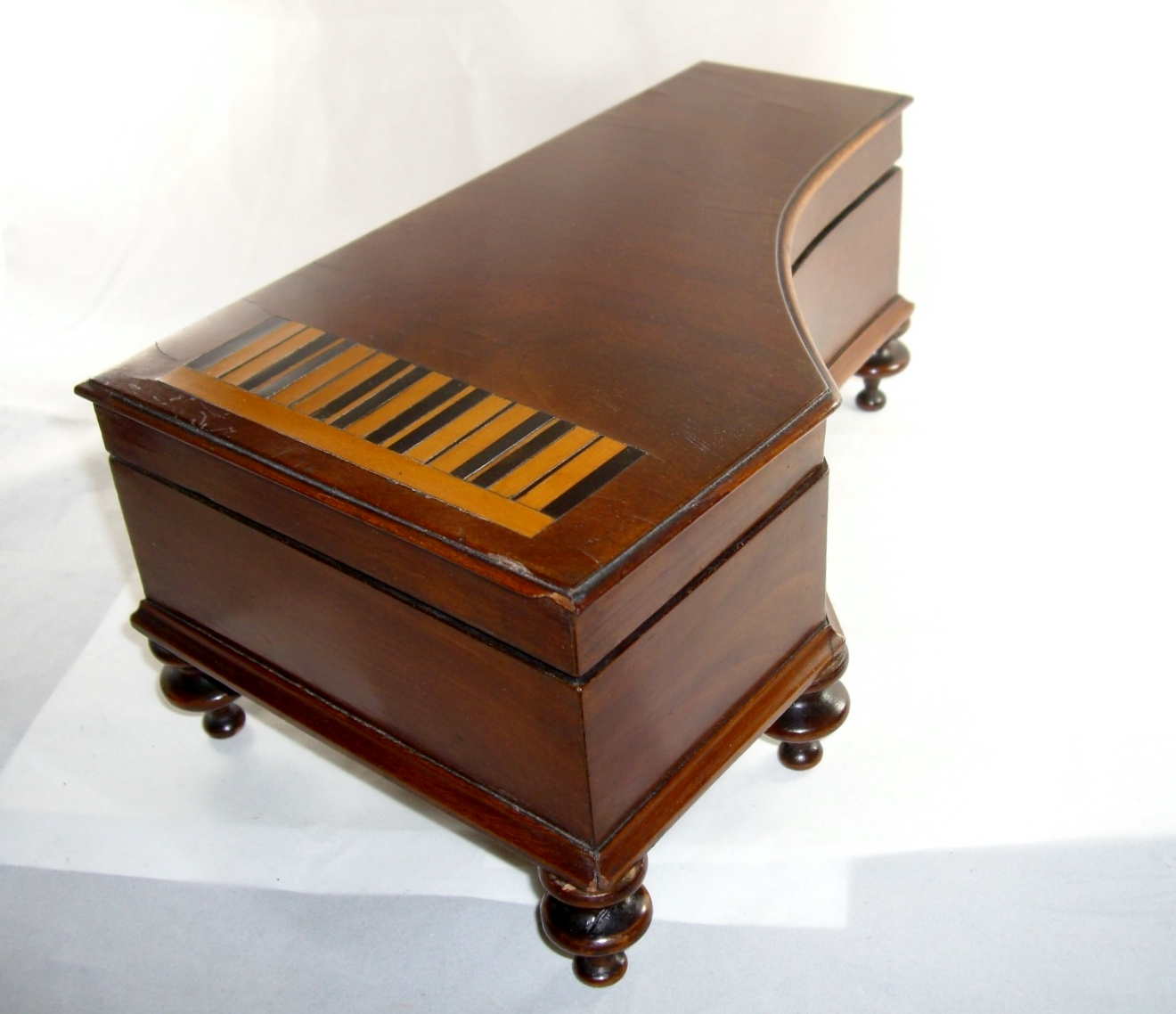 Antique Miniature Inlaid Wood Piano Jewelry Trinket Box
