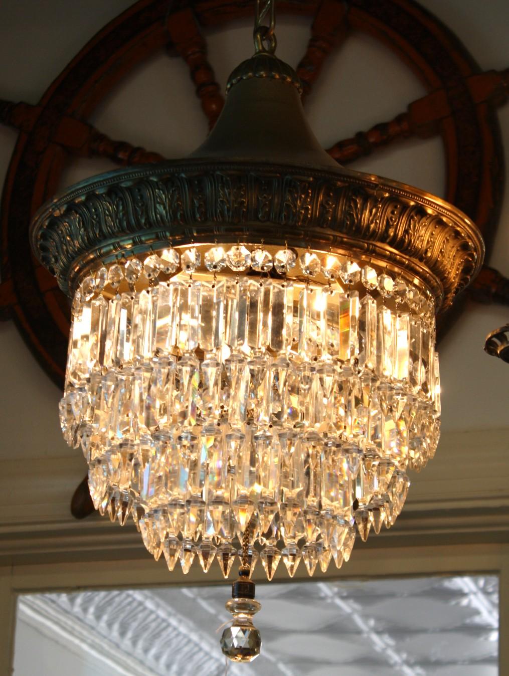 Antique Czechoslovakian Lead Crystal Chandelier For Sale