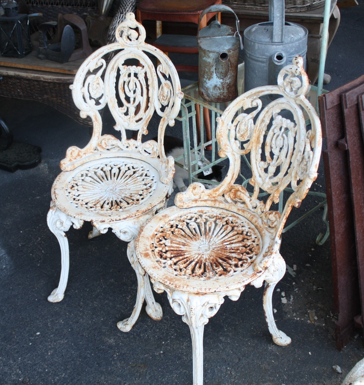 Antique ornate cast iron three piece set for sale for Cast iron garden furniture