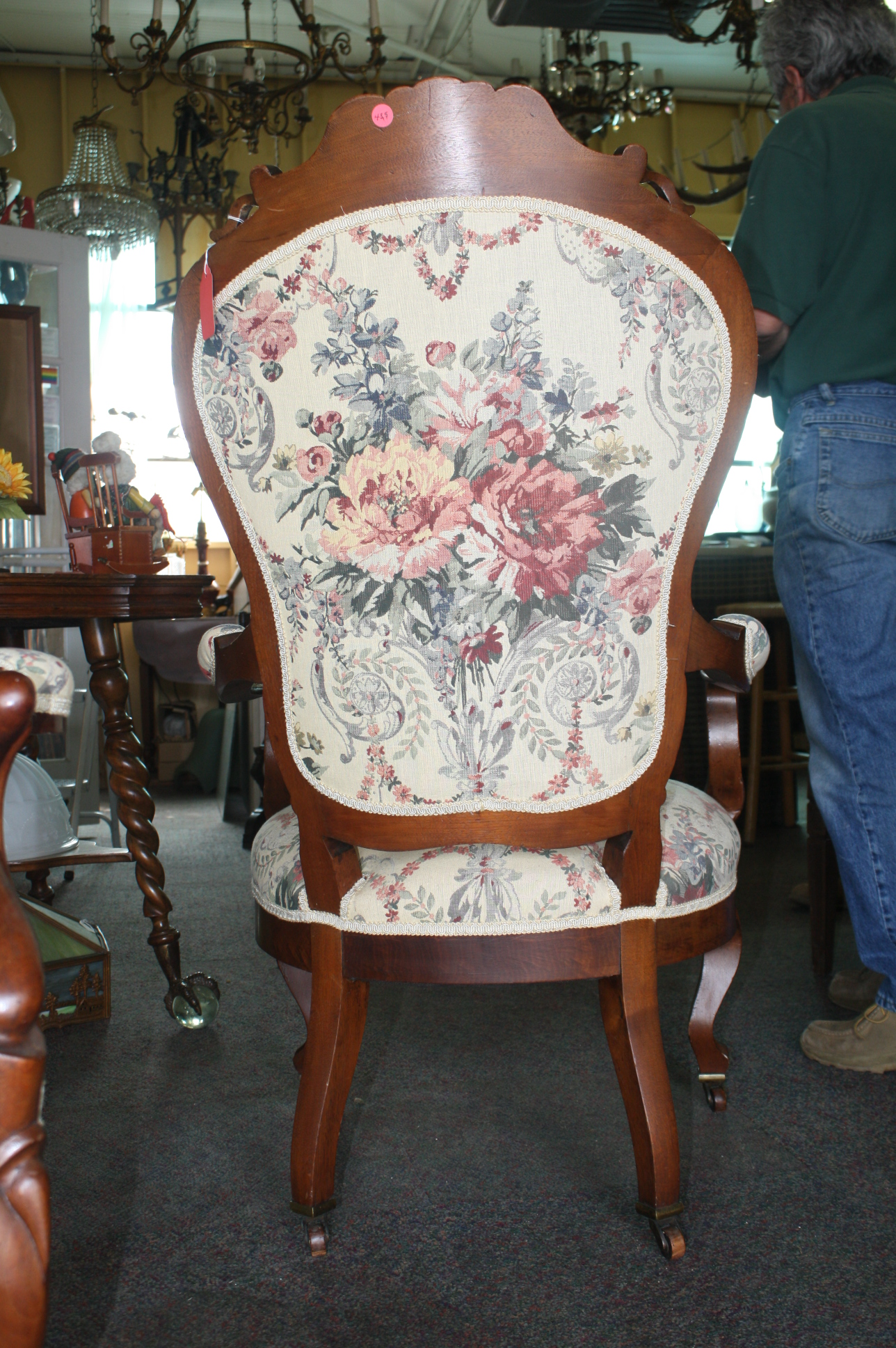 exceptionally upholstered pair of victorian parlor chairs for sale