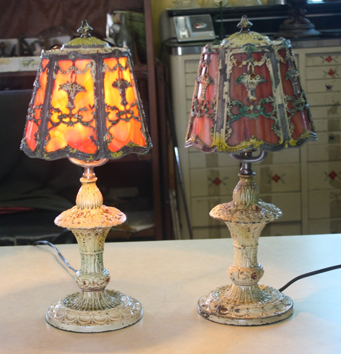 chic antique barbola rose cast metal slag glass lamps for sale. Black Bedroom Furniture Sets. Home Design Ideas