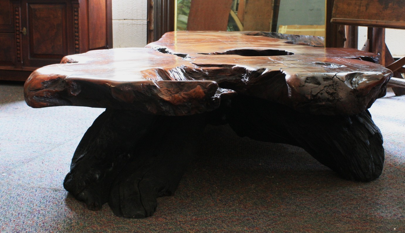 Beautiful Giant Ancient Swamp Log Low Table For Sale