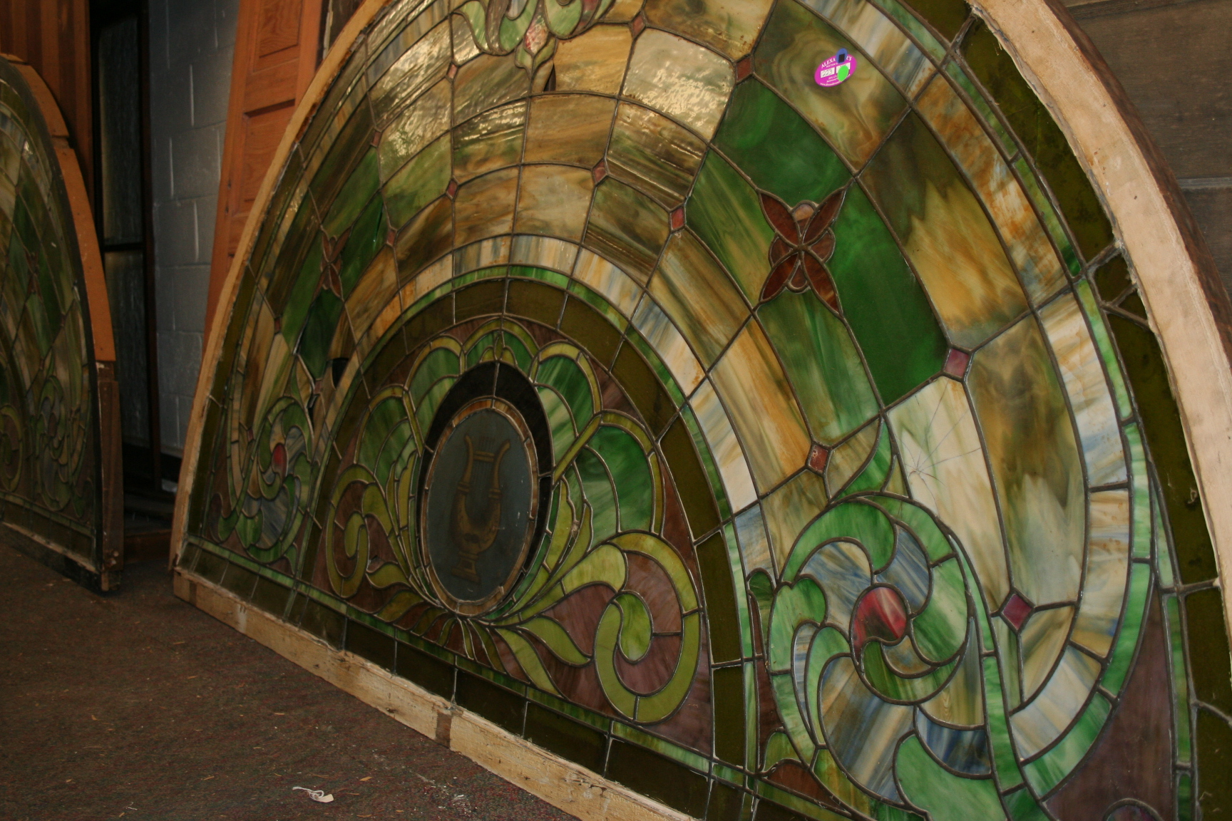 Extremely Large Musical Eyebrow Stained Glass Window For