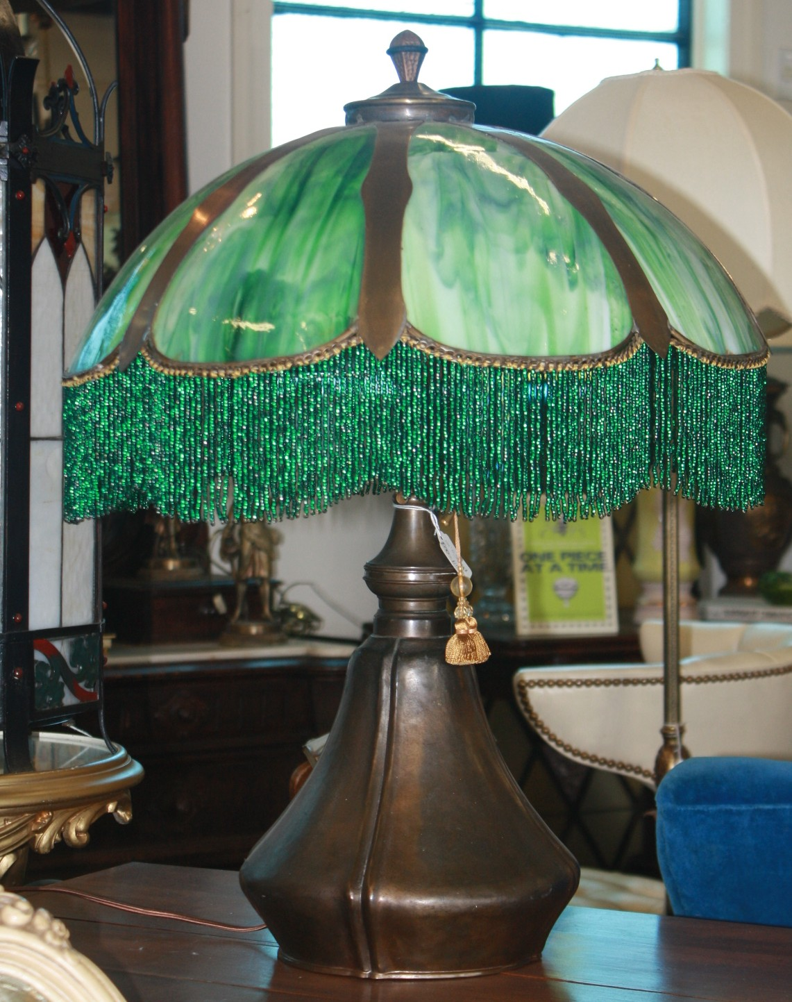 Green Lamp Painting : Large art nouveau lamp with green glass shade for sale