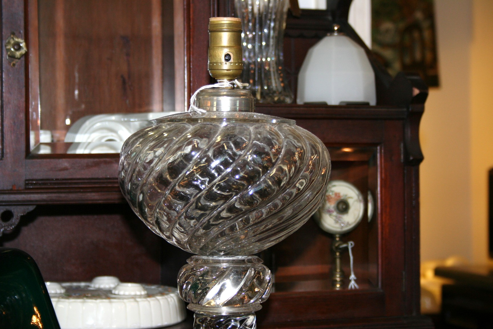 Mammoth Antique Glass Electrified Oil Lamp For Sale