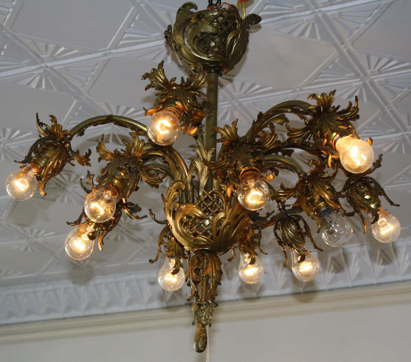 Ornate, twelve light, cast iron and brass chandelier has that extremely  hard to find asset of the lights pointing down. Beautify your home and see  what you ... - Twelve Light Antique Cast Iron And Brass Chandelier For Sale