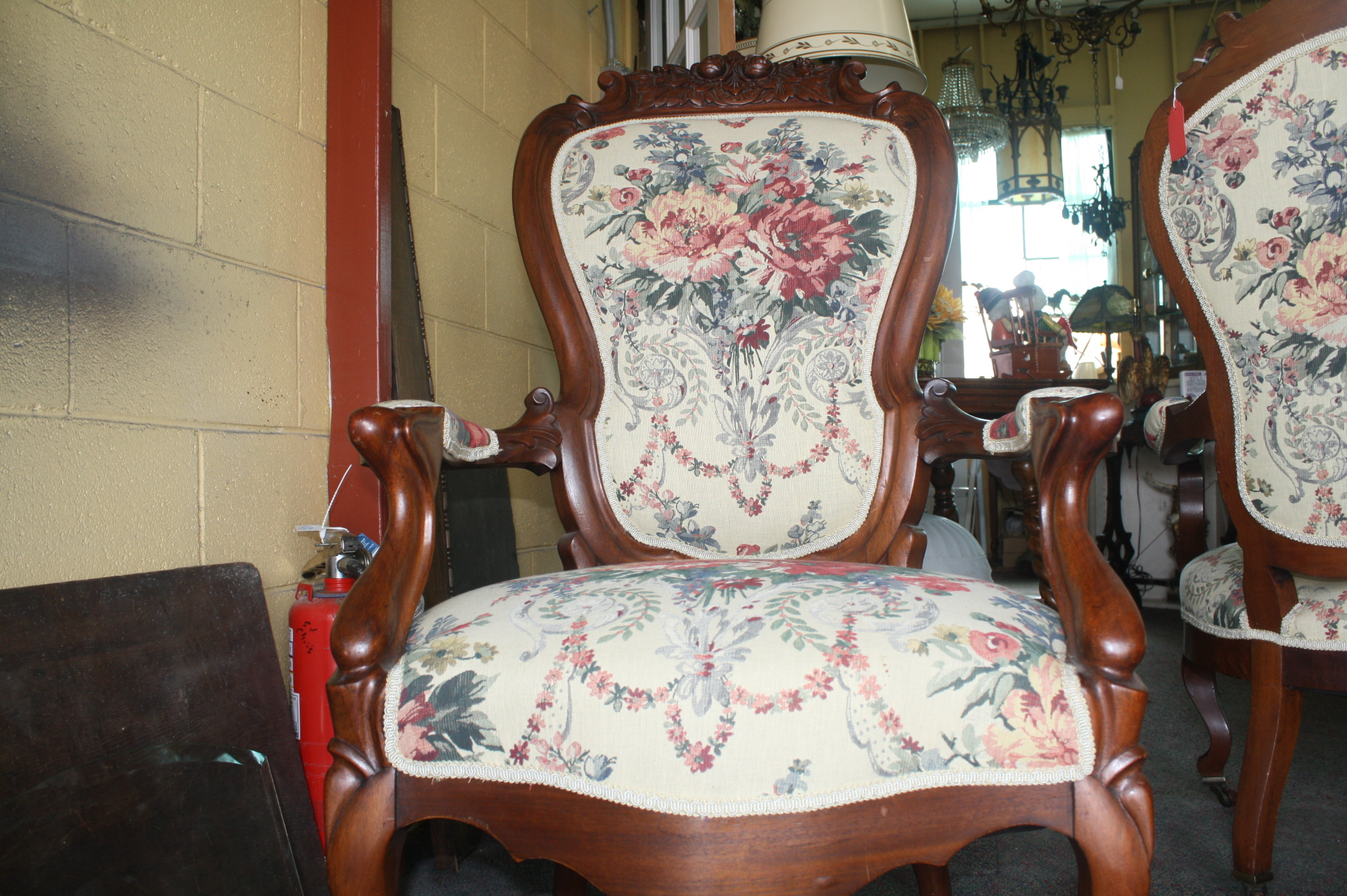 Antique victorian parlor chairs - Super Set Of Sturdy Floral Victorian Parlor Chairs Have Extra Wide Seats New Upholstery And Springs One Has Four Casters One Has Wide Arms And Extra