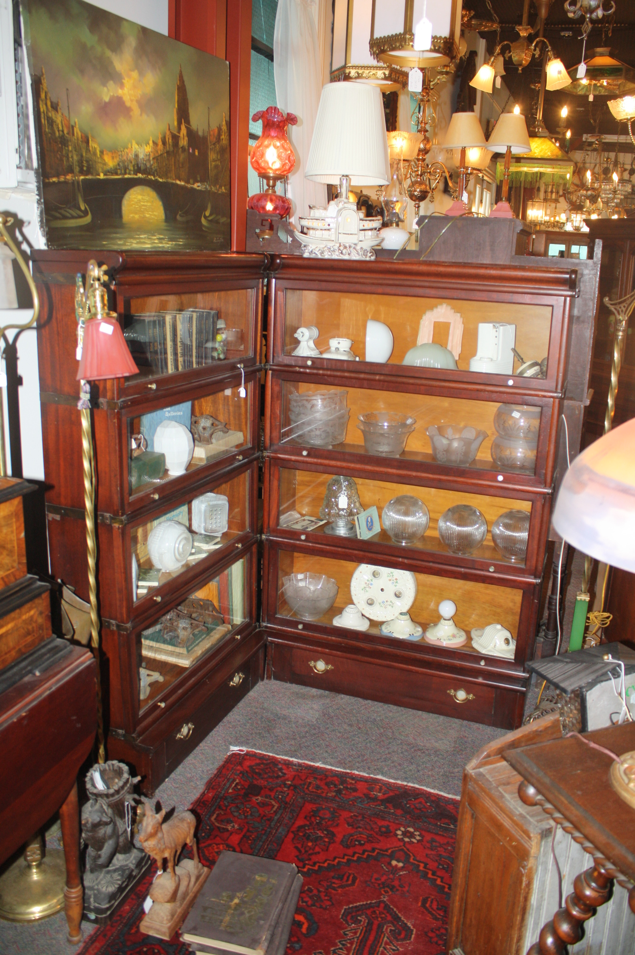 Ten Unit Corner Antique Lawyer S Bookcase With Drawers