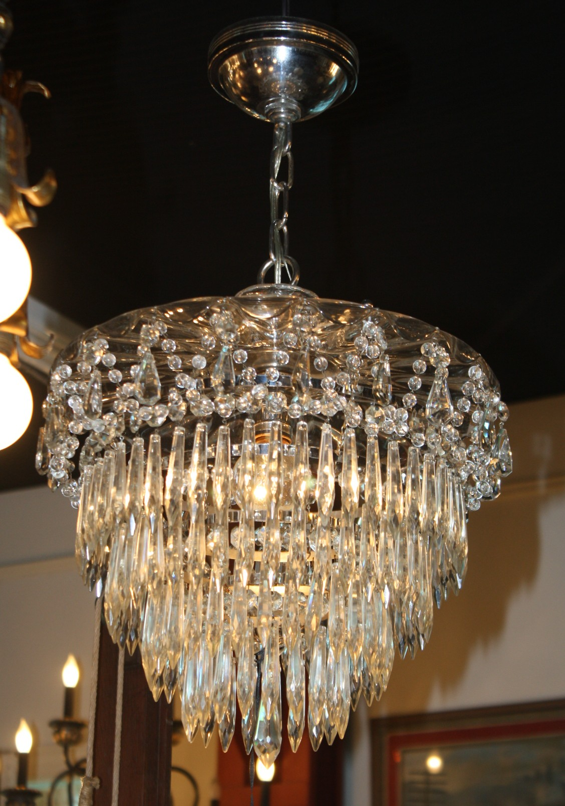 Sparkling glass top crystal chadelier is very unique for for Unique chandeliers for sale