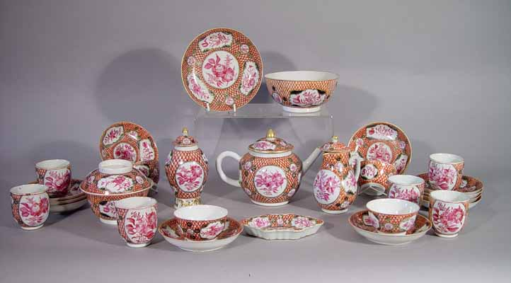 A Chinese Export Porcelain Tea Service With Unusual Iron