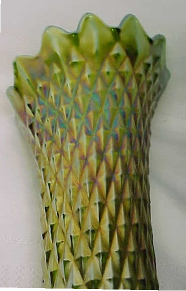 Northwood Glass Company Diamond Point Lime Green Vase For Sale
