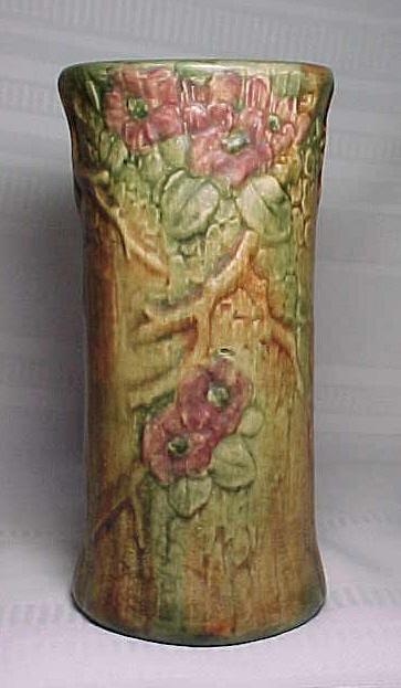 Weller Pottery Woodcraft Flemish Floral Tall Vase For Sale