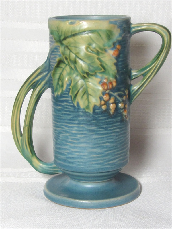 Roseville Pottery Bushberry Blue Double Handled Tall Vase Very